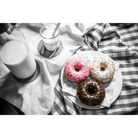 Canvas Print Black And White Color Pop Milk Donuts Food Table Stretched Canvas 10 x 14 (Pops Donuts)