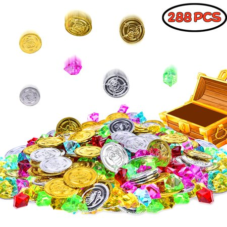 Halloween Decorations, Halloween Party Favors,Halloween Gold Coins Pirate Jewelry Treasure Box for Theme Party Supply 288 PCs (144 Coins+144 Gems)F-189