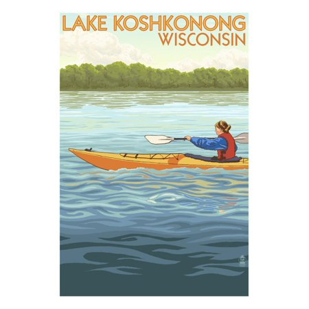 Lake Koshkonong, Wisconsin - Kayak Scene Print Wall Art By Lantern (Best Lakes To Kayak In Wisconsin)