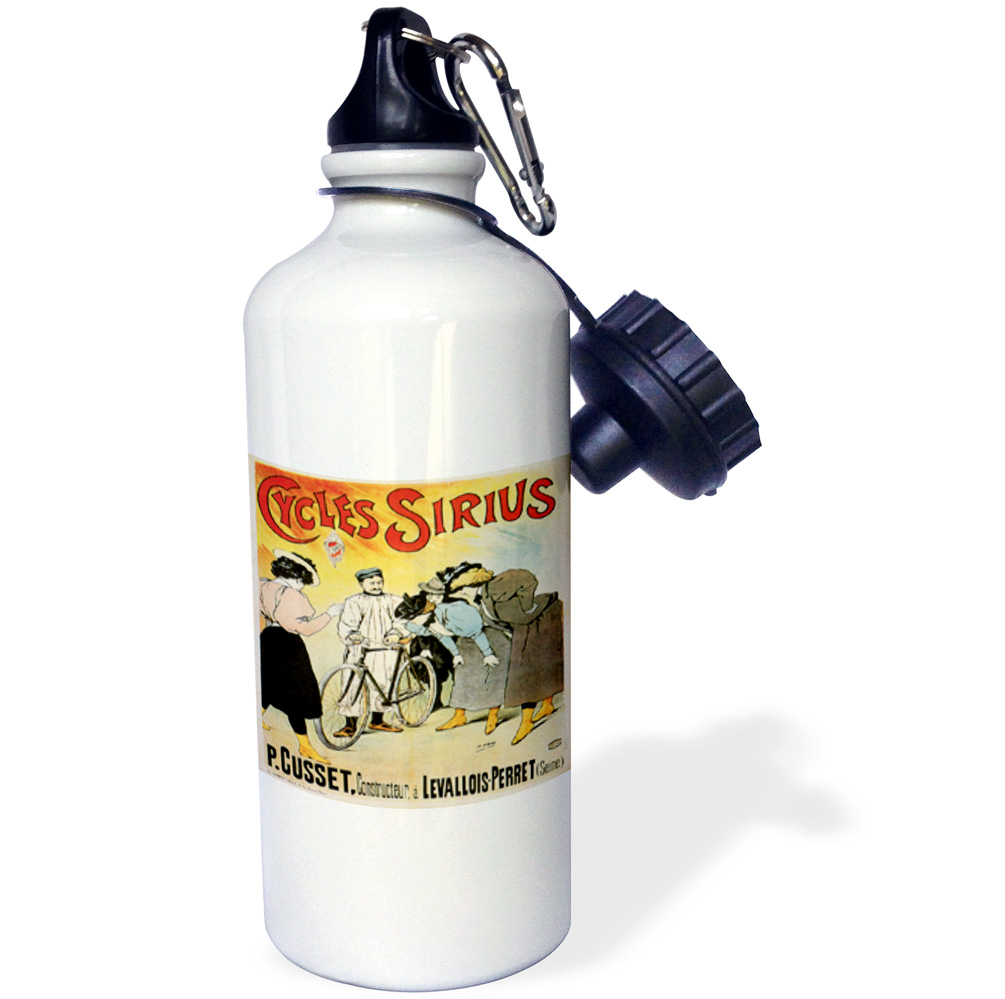 3dRose Cycles Sirius French Bicycle Advertising Poster, Sports Water Bottle, 21oz