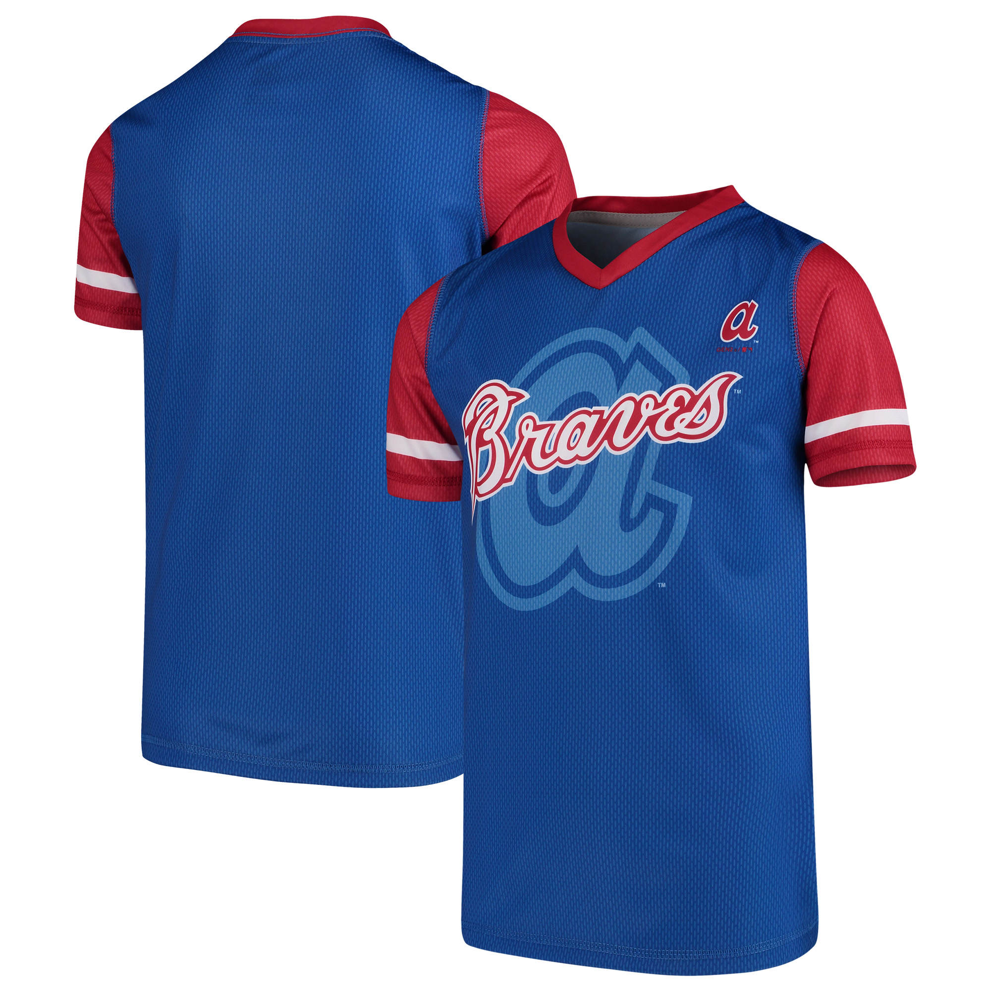 Atlanta Braves Youth Cooperstown Collection Play Hard V-Neck Jersey T-Shirt - Royal