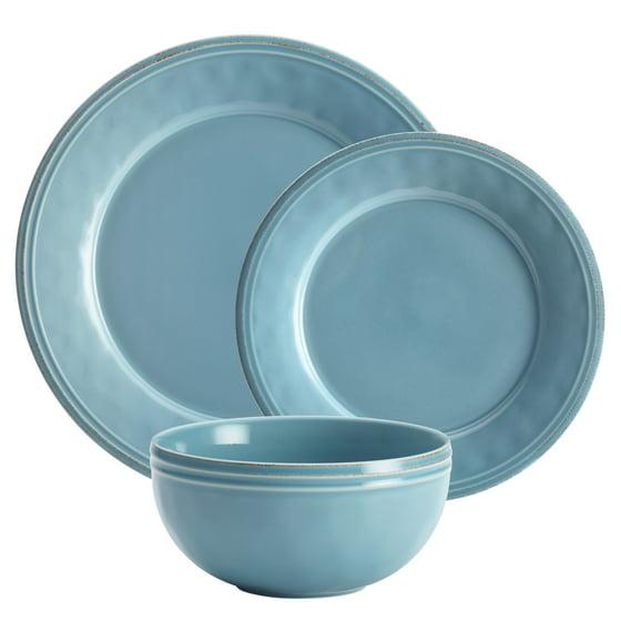 Rachael Ray Cucina 12 Pc Stoneware Dinnerware Set, Agave Blue ...