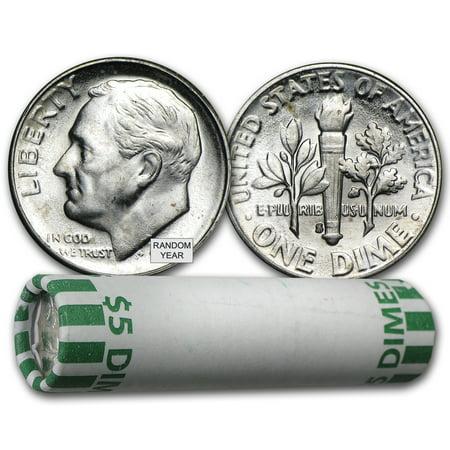 90% Silver Roosevelt Dimes 50-Coin Roll BU Mercury Dime Roll