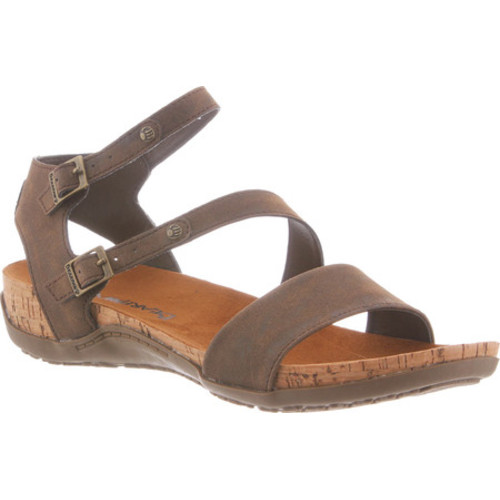 Bearpaw Kourtney Strappy Cork Sandal(Women's) -Pewter Microsuede