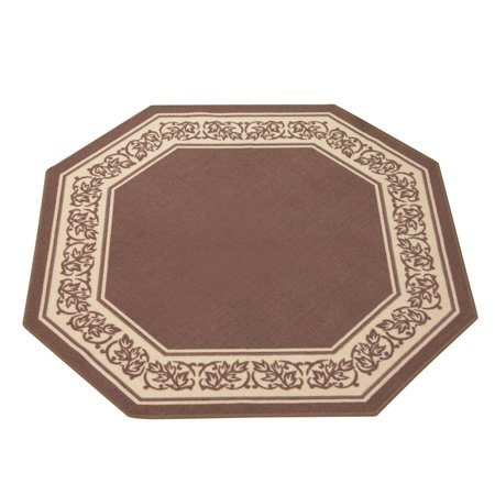 - Floral Border Octagon Accent Rug with Skid-resistant Backing to Protect Floors in High Traffic Areas 54
