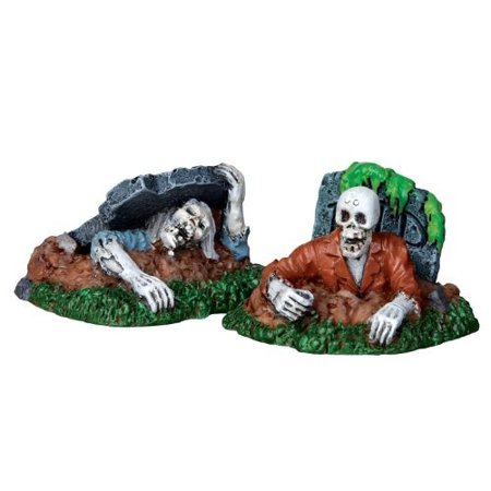 Spooky Town Zombies!!!, Set of 2 #22007, Features two zombies crawling from graves By Lemax Ship from US