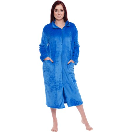 Silver Lilly Women's Long Fleece Zip Up Front Robe (Zip Front Bubble)