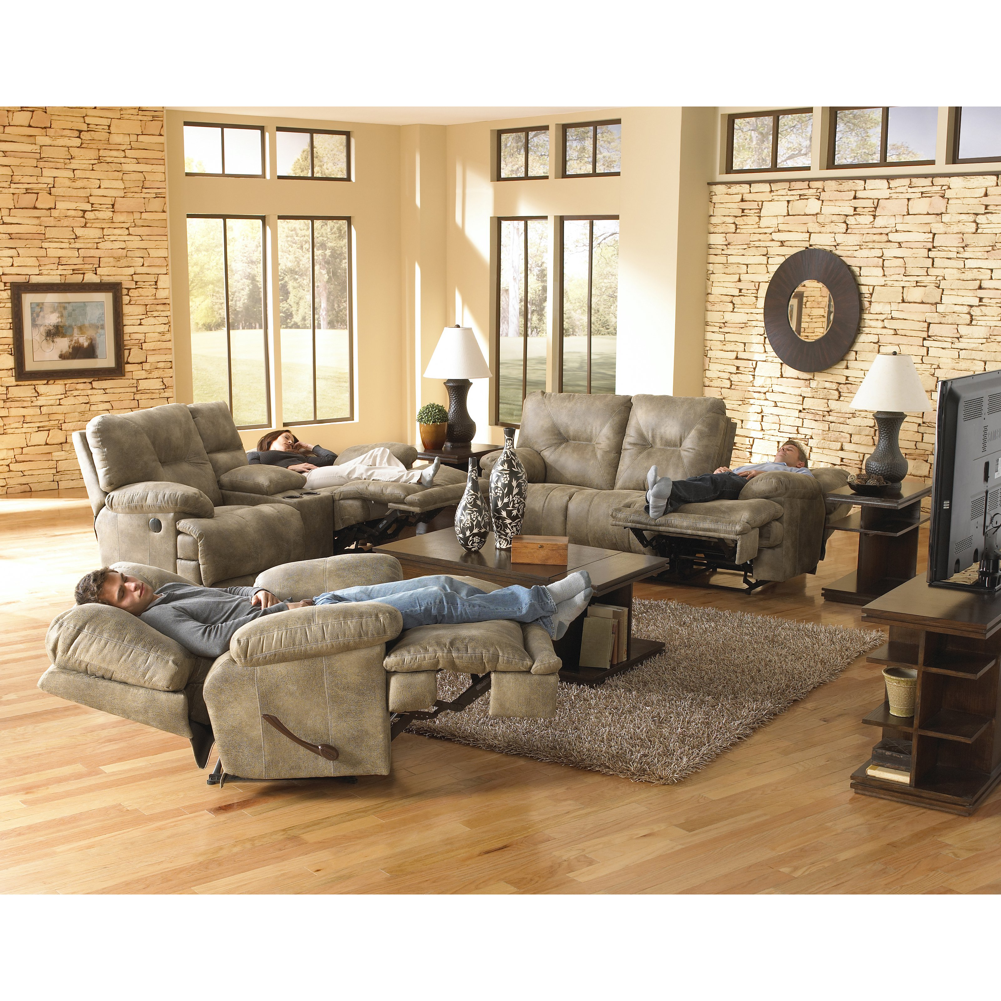 Catnapper Voyager Reclining Sofa Set - Brandy