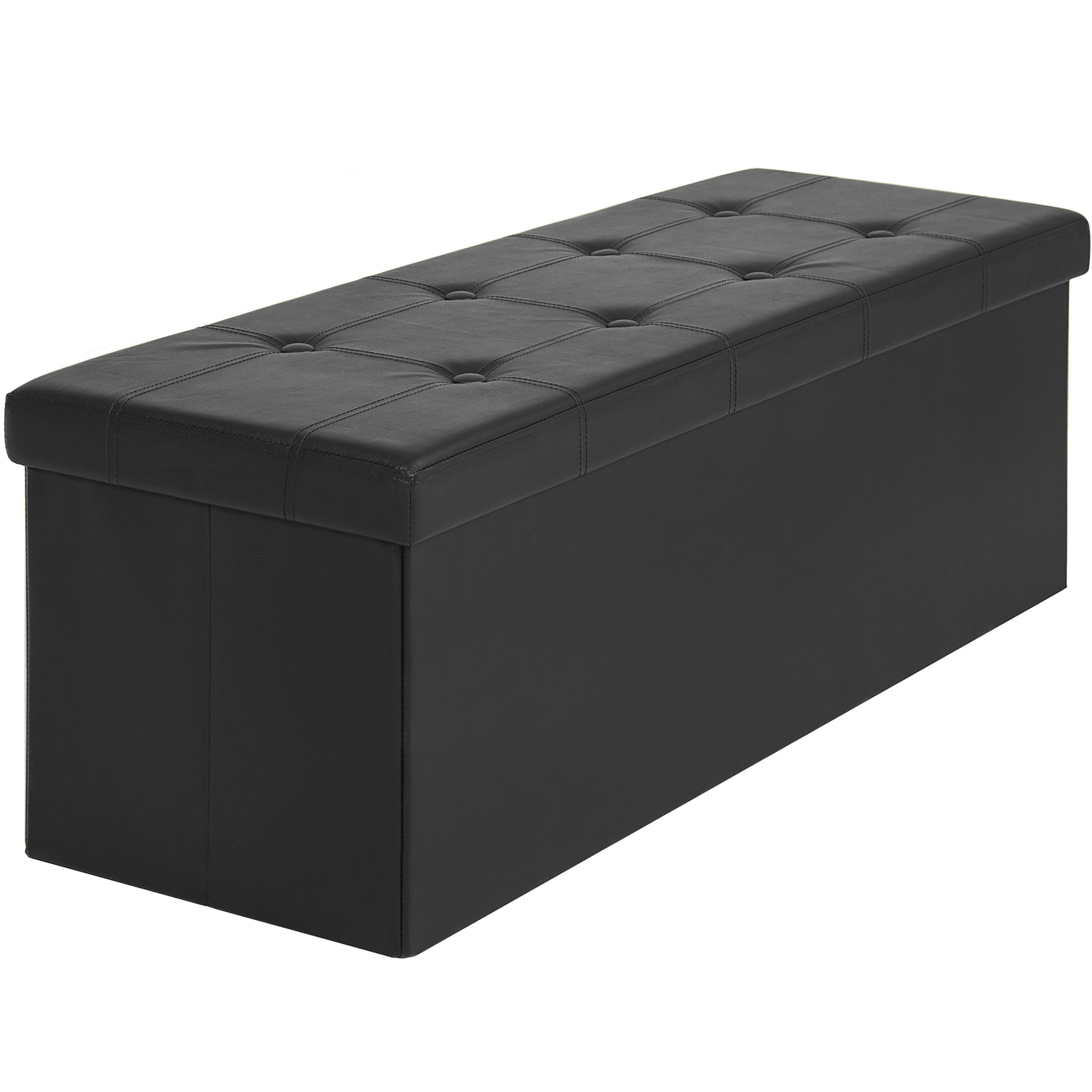 Attirant Best Choice Products Faux Leather Space Saving Folding Storage Ottoman  Stool Seat Bench W/ Velcro Divider   Black   Walmart.com