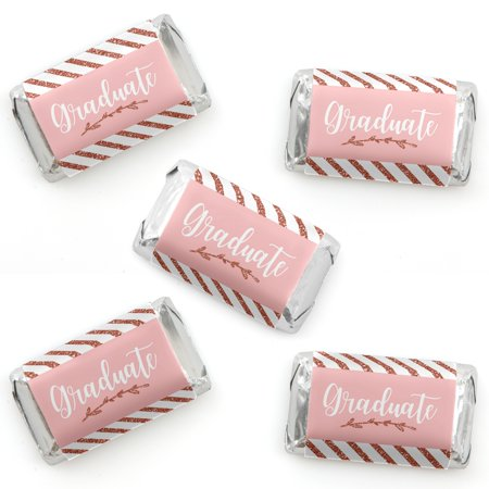Rose Gold Grad - Mini Candy Bar Wrapper Stickers - Graduation Party Small Favors - 40 - Gold Candy Apples