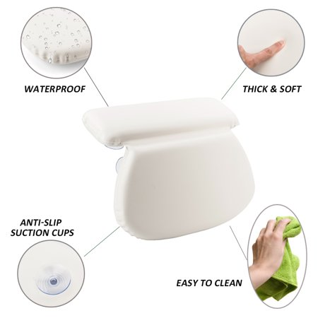 Jacuzzi Whirlpool Pillows (TANBURO Non-Slip Bath Tub Spa Pillow Bathtub Cushion Neck Back Support Jacuzzi Hot Tub Relaxing with 7 Suction)
