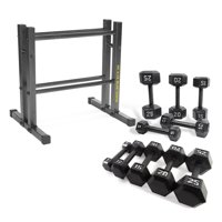 Golds Gym 24-in Utility Rack w/150 lb Cast Iron Dumbbell Set