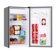 Mini Fridge with Freezer, 3.2 Cu.Ft Mini Refrigerator with One-touch Easy Defrost, Compact Small Refrigerator for Dorm, Bedroom, Office, Energy Saving, 37 dB Low Noise, Stainless Steel