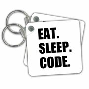 3dRose Eat Sleep Code - computer coder. Programmer. love to program. Coding - Key Chains, 2.25 by 2.25-inch, set of 2