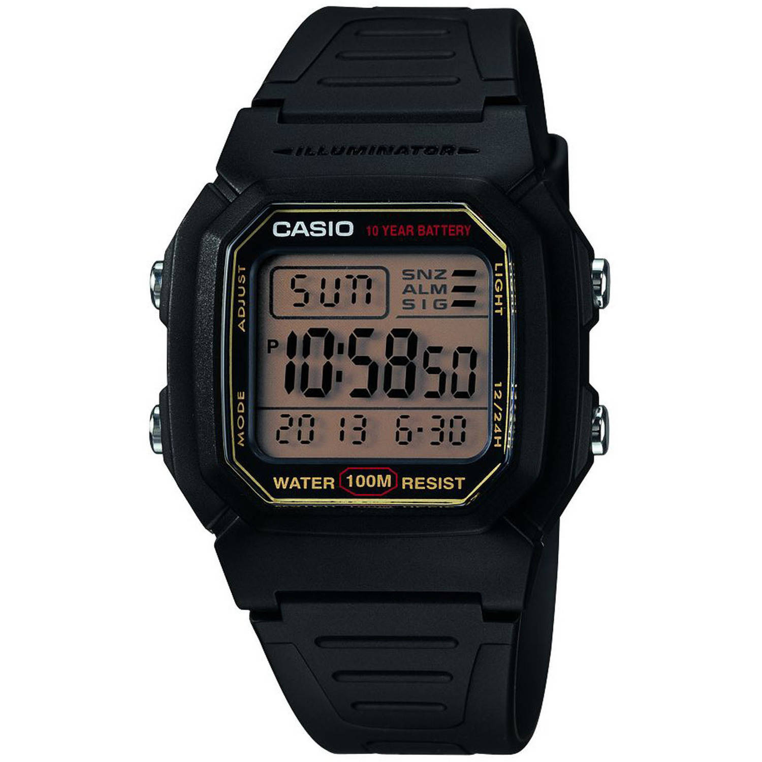 Casio Men's Classic Digital Watch, Black Resin Strap