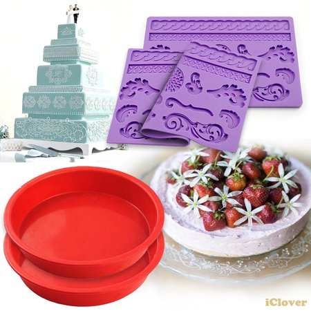 [2in1] Food Grade Silicone Lace Cake Mold + 7.3'' Round Bread Baking Mold,IClover [4 Pack] on-Stick Red Bakeware Perfect for Bread, Pie, Chocolate, Pizza, Cake, Ice Cream Pud Microwave Dishwasher Safe ()