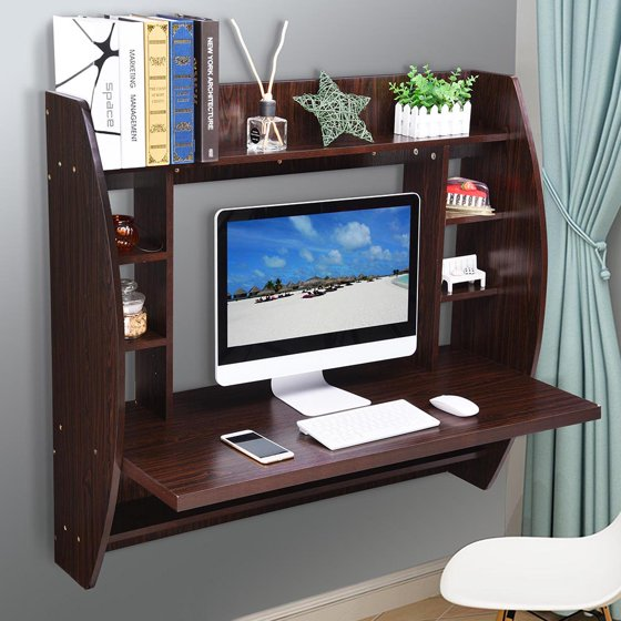Yescom Wall Mounted Floating Computer Desk with Storage Shelves Laptop Home  Office Furniture for Work Black