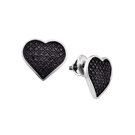 Sterling Silver Black Color Enhanced Diamond Womens Heart Cluster Screwback Stud Earrings 1/4 - Black Diamond Cluster Earrings
