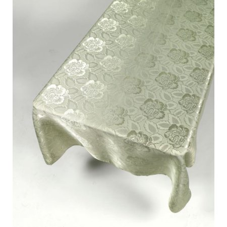 Royal Bath Sage Color 52 X 70 Polyester Fabric Tablecloth In a Floral Rose Damask Pattern