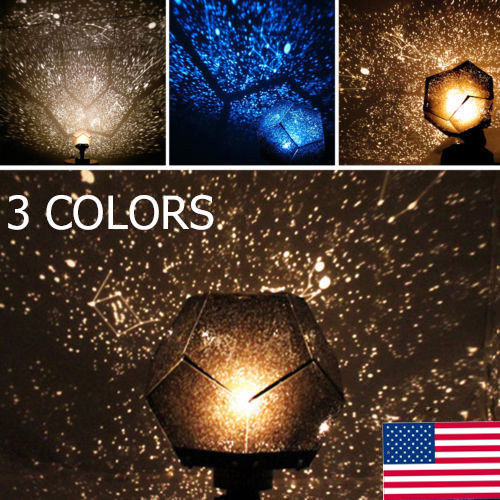 3 Colors Romantic Astro Star Sky Laser Projector Cosmos Night Light Lamp by