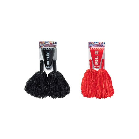 Red and Black Cheerleader Pom Poms and Megaphone Set for $<!---->