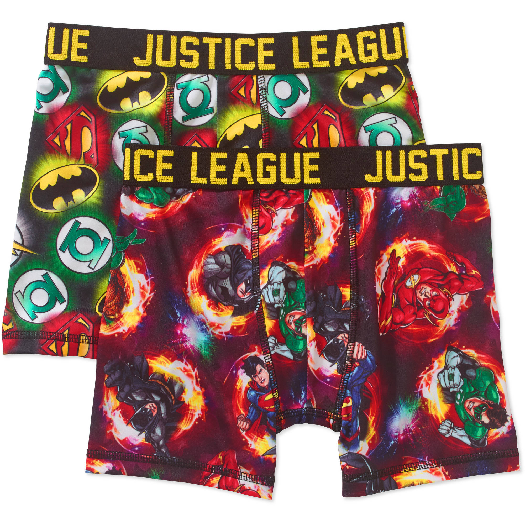 Generic Justice League Boys' Wrinkle Resistant Boxer Brief, 2 - Pack