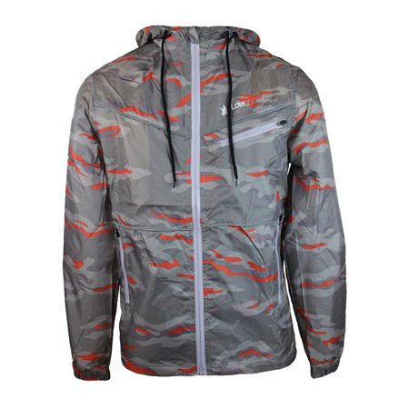 Flow Society Men's Graphic Windbreaker Rain Coat Jacket MKS73515 Pacific Mirage Grey Gray Orange