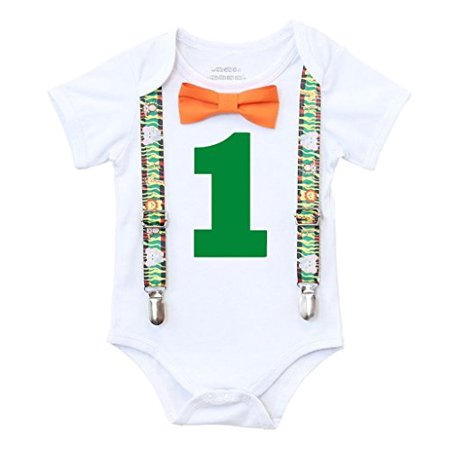 Noah's Boytique Baby Boys First Birthday Jungle Safari Theme Party Outfit 12-18 M Zebra](Zebra Outfit)