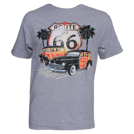 Mens Grey Short-Sleeve Route 66 Woody T-Shirt - Small
