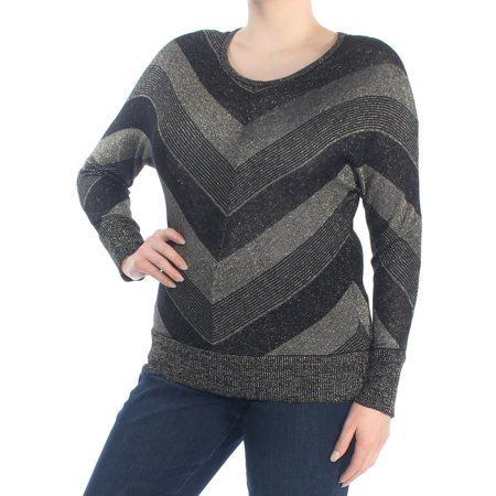 NY COLLECTION Womens Black Metallic Chevron Print Long Sleeve Jewel Neck Sweater Petites  Size: XL