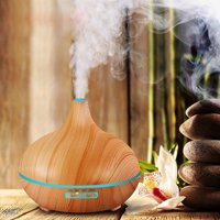 Essential Oil Diffuser, 320ml Mini Aroma Wood Grain Cool Mist Humidifier for Office Home Study Yoga Spa Baby, Auto Shut-Off and 14 Color Night Lights (Yellow)