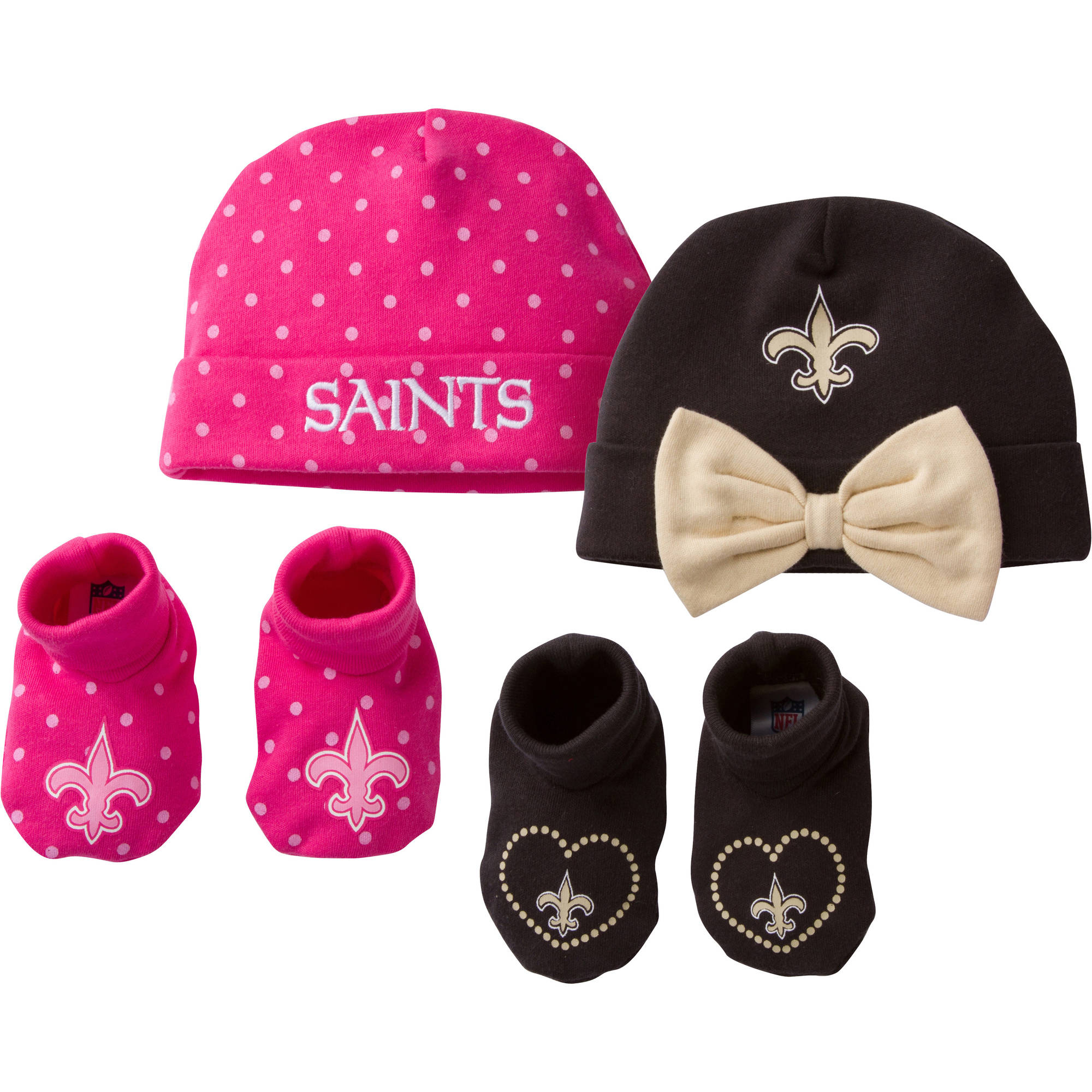 NFL New Orleans Saints Baby Girls Accessory Set, 2 Caps and 2 Booties, 4-Piece
