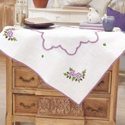 Herrschners®  Purple Roses & Daisies Table Topper Stamped Embroidery Kit