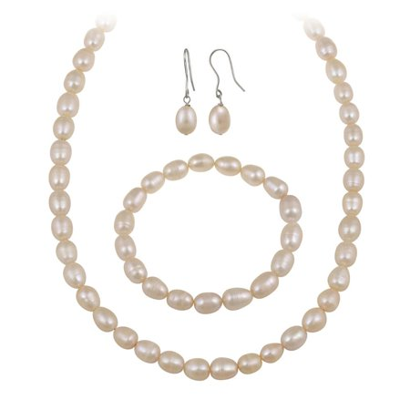 White Freshwater Pearl Jewelry Set (10 x 8 - Pearl Rock