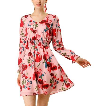 Allegra K Women's V Neck Smocked Waist Ruffle Cuff Long Sleeves Vintage Floral Swing Dress (Size XS / 2) Pink Red Smocked V-neck Dress