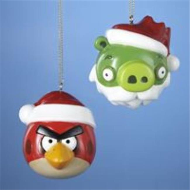 Kurtadler 1475579 Angry Birds Red Bird & Green King Pig Ball with Santa Hat Ornament - Case of 144