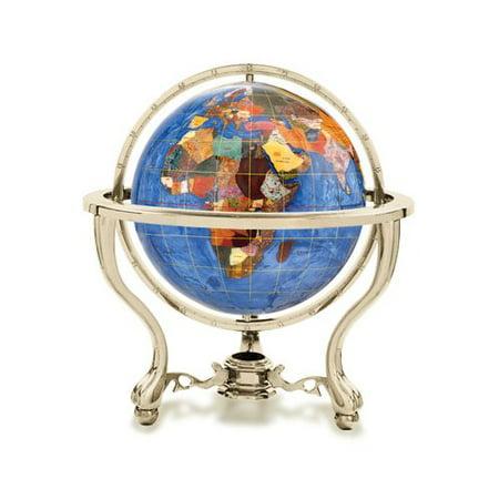 Gemstone Turquoise Globe - Astoria Grand Gemstone Globe with Opalite Ocean and Commander 3-Leg Table Stand