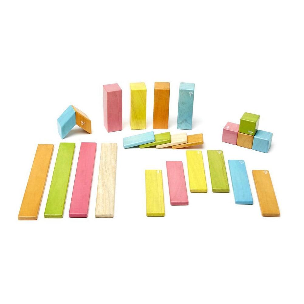 Tegu 24 Piece Magnetic Wooden Block Set, Tints by Tegu