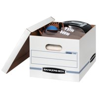 """10 Count Bankers Box Stor/File Storage Box with Lift-Off Lid, Letter/Legal, 12"""" x 10"""" x 15"""", White"""