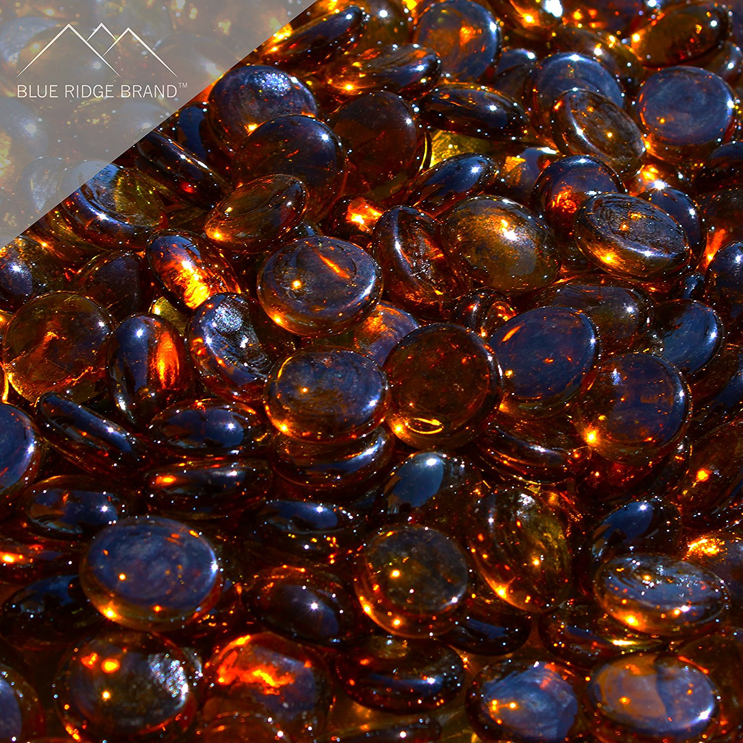"""Fire Pit Glass - Dark Amber Reflective Fire Glass Beads 3/4"""" - Brown Reflective Fire Pit Glass Rocks - Blue Ridge Brand™ Reflective Glass Beads for Fireplace and Landscaping 3, 5, 10, 20, 50 Pounds"""