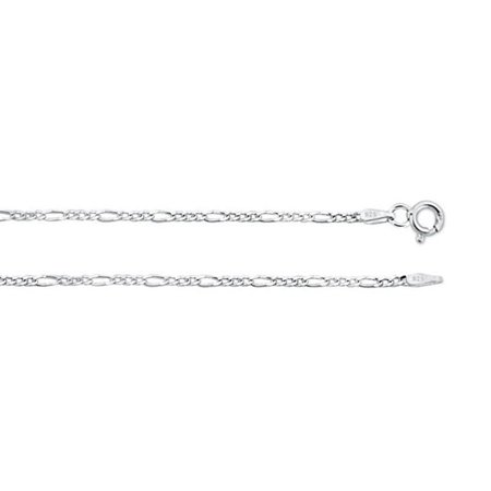 """ZilverZoom 0.925 Sterling Silver Figaro Bracelet Chain 2.3 mm 7"""" inches.   Made in Italy"""