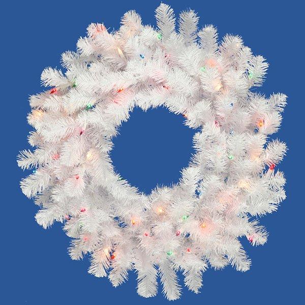 48 Pre Lit Crystal White Artificial Spruce Christmas Wreath Multi Lights Walmart Com Walmart Com