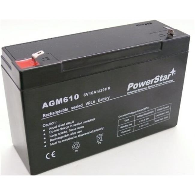 PowerStar AGM610-109 6V 10Ah SLA Battery Replaces NP10-6 NP12-6 PE6V10 PE6V12