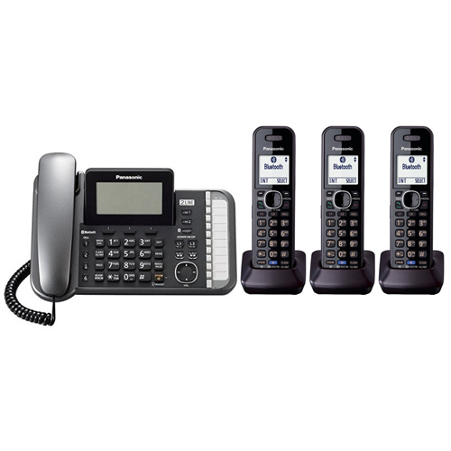 Panasonic KX-TG9583B DECT 6.0 2-Line Operation 4 Handset Phone System Digital Answering System by Panasonic