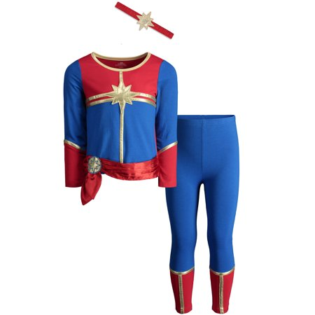 Captain Marvel Toddler Girls Costume Long Sleeve T-Shirt Leggings & Headband Set - Girls Marvel Costume
