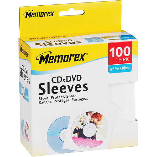 Memorex White CD/DVD Sleeves - 100 Pack