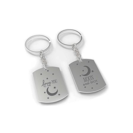 I Love You to the Moon and Back Couple Key Chain Set - His and Hers Key