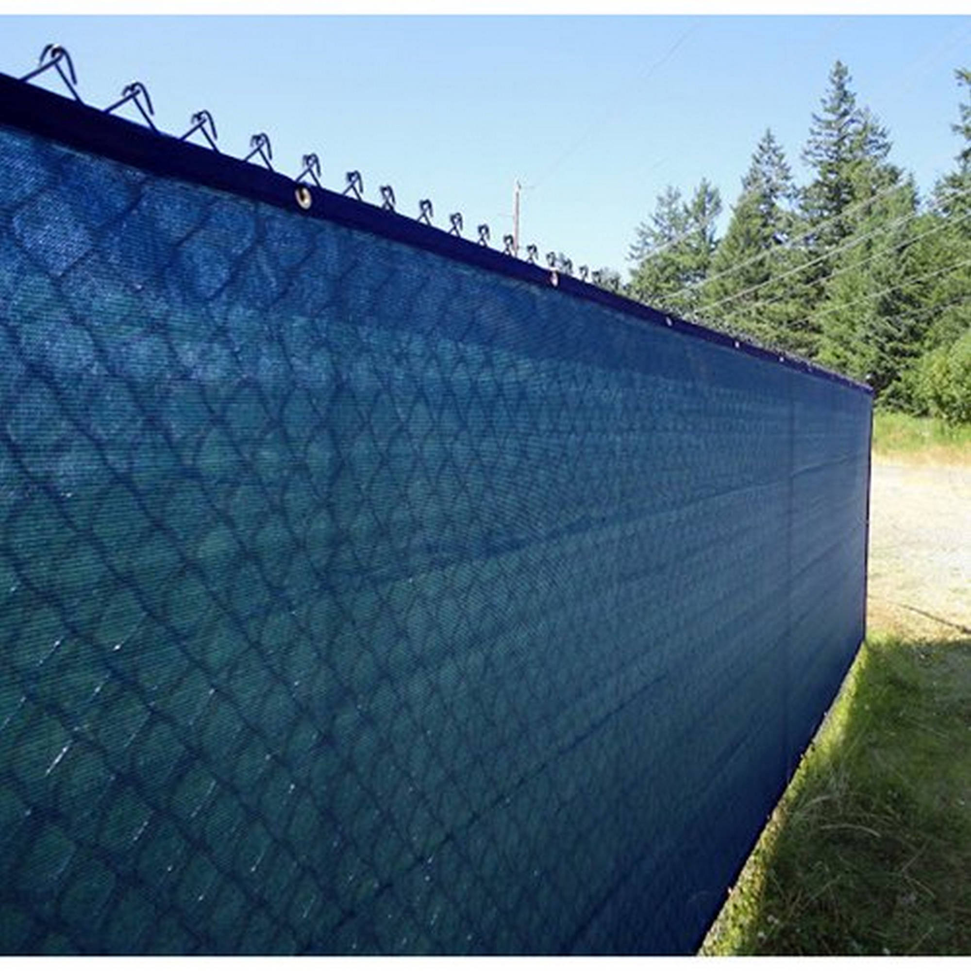 Aleko Privacy Mesh Fabric Screen Fence with Grommets 6 x 25 Feet Blue by ALEKO