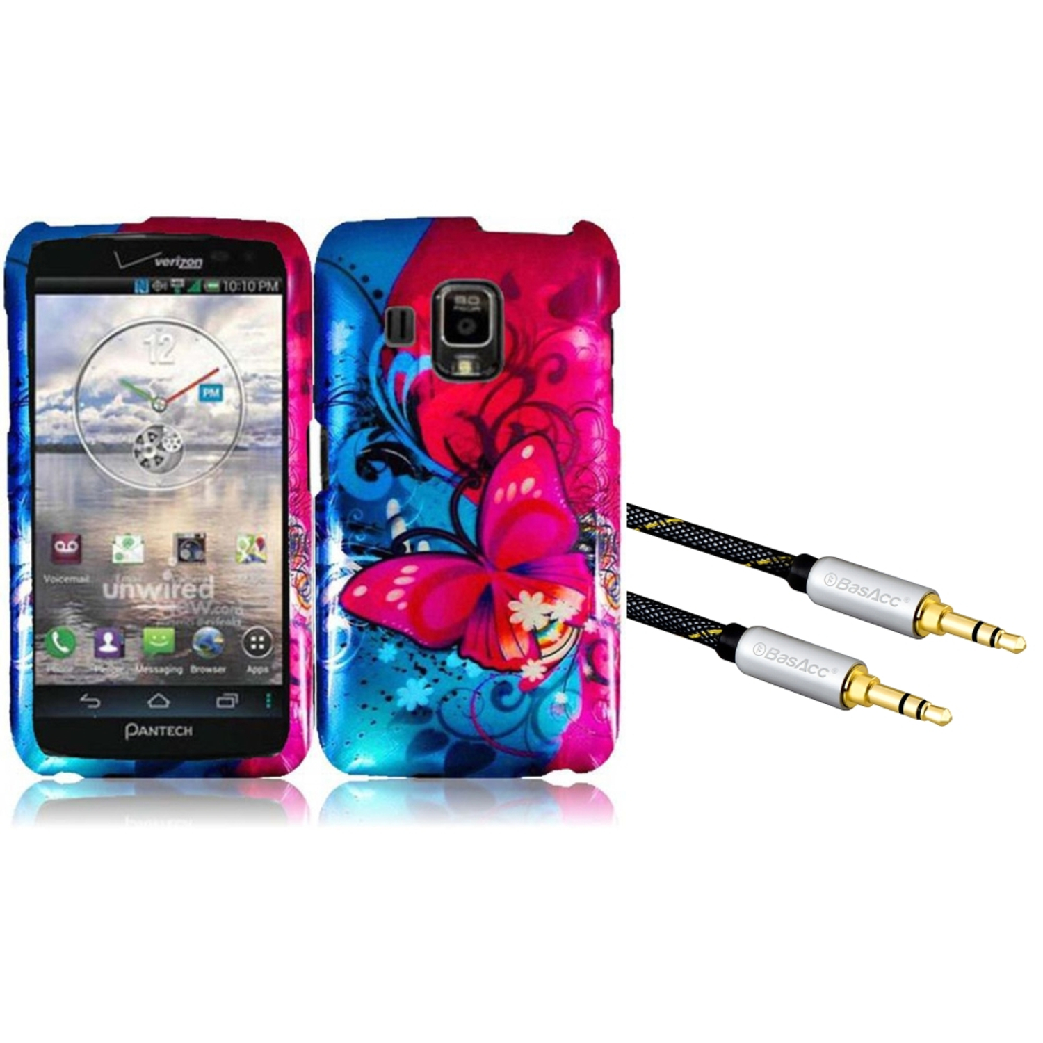 Insten For Pantech Perception ADR930L Design Phone Hard Case Butterfly Bliss (with 3.5mm Audio Extension Cable M/M)