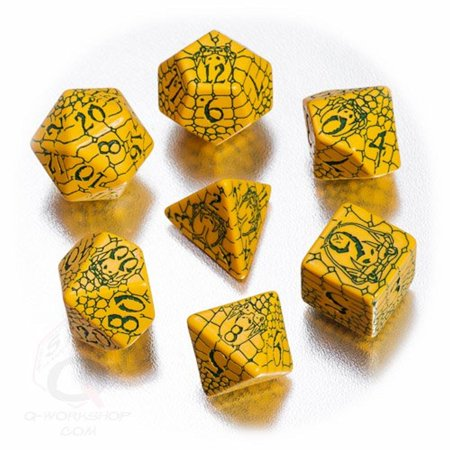 Snake Skin Design (PF: Serpent's Skull Dice Set Q-Workshop Polyhedral 7-Die Set: Pathfinder (7) Gold & Green Snake Skin Design QWSSPAT36)